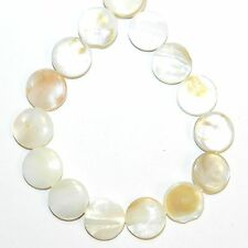Bead Shell Pendant 45mm Round Flat White