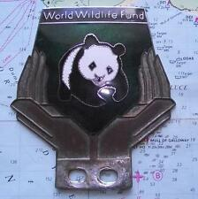 Old Chrome Enamel Vintage Car Mascot Badge : WWF World Wildlife Fund Panda (g)