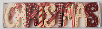 Chic & Shabby Christmas Wooden Garland Red Cream Vintage Style Decoration Boxed
