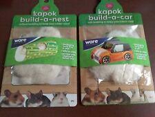 Kapok Build A Car & Build A Nest Bedding Kit Gerbil Mouse Small Animals Lot of 2