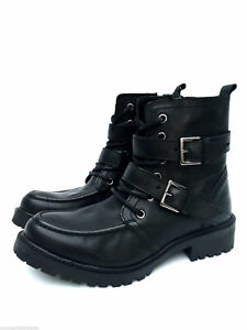 Zara Leather Ankle Boots Black Buckle Lace up UK 3 4 7