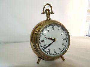 """Quartz Desk / Shelf Clock Antique Style Solid Brass Frame w/ Glass Lens 7"""" Tall"""
