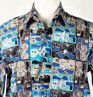 Kahala 1936 Avi Kirlaty Hawaiian Aloha Shirt Size Medium Ukeleles Musical Notes