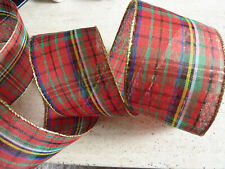 1m 63mm WIRED CHRISTMAS RIBBON NATURAL WOOLY RED TARTAN TREE GIFT BOWS FLORIST
