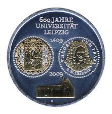 DEUTSCHLAND 10 Euro SILBER 2009 - 600 Jahre UNIVERSITÄT LEIPZIG - GOLDAPPLIKATIO