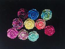 new 10pcs Resin Rose Flower flatback Appliques For phone/wedding/crafts1