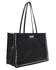 Prada Studded Etiquette Tote Shouder Bag Black Nylon New