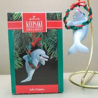 Vintage 1990 Hallmark Keepsake Ornament Jolly Dolphin Dolphin with Wreath. NOS