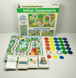 Vintage Initial Consonants Frank Schaffer Learning Step Game Four Boards 1990