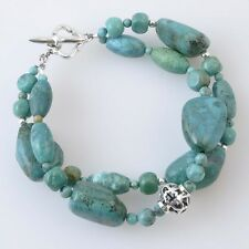Barse Sterling Silver and Turquoise Double Strand Chunky Toggle Bracelet
