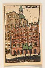 26557 Steindruck Künstler Stein Zeichnung AK Stralsund Rathaus Nikolai-Kirche