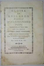 Settecentina- Eloisa ad Abelardo poesia d' Alessandro Pope 1792 libro antico