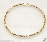 2.5mm Round Box Chain Chain Bracelet Ankle Anklet Real 14K Yellow Gold