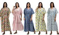 Indien Long Robe Kimono Grande Taille Robe Maxi Pyjama Coton Imprimé Caftan