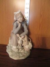 Large 1972 Lladro Porclain Girl with Doll Sitting Figure #1211 no box