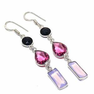 """Rubillite, Fire Opal Gemstone 925 Sterling Silver Jewelry Earring 2.84 """""""