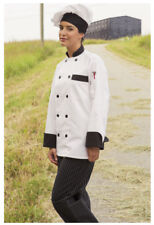 One Lot of 5 Chef Coats, White with Black Trim. Size: Medium - 404