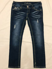 Rue 21 Skinny Distressed Whiskered Crop Jeans SIZE 3/4 Stretch 30 X 26