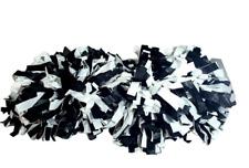 2  Varsity Pom Poms Chasse Cheer Black White Cheerleader Bar Dowel Handles