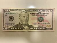 RARE 2013 FIFTY DOLLAR BILL *STAR NOTE* $50.00 ME00863255*