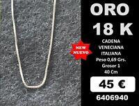 18K Cadena veneciana 40 Cm. ORO Blanco 18 Kilates 100%