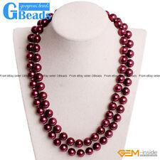 "Handmade 10mm Shell Beaded Gemstone Birthstone Long Necklace 36"" Free Shipping"