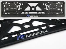 2 x Volvo R-Design LOGO Auto FRAMES EURO for LICENSE PLATES XC90 XC V70 S60 V40
