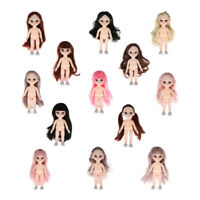 Flexible 13 Ball Joints 1/12 BJD Girl Doll 3D Eyes White Skin DIY Making Toy