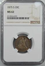 1875-S 20C Twenty Cent Piece NGC MS 62 Crusty Original Coin Golden Toning
