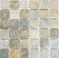 Mosaik Fliese Quarzit beige grau Wand Boden Fliesenspiegel Art:36-0204_b|1 Matte