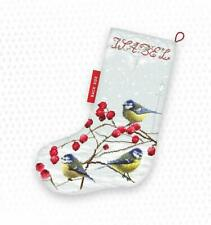 LetiStitch Counted Cross Stitch Kit - LETI 949 Blue Tits Christmas Stocking