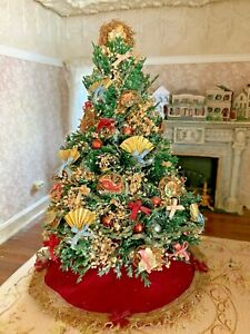 Vintage Miniature Dollhouse Christmas Tree 1:12 Decorated Victorian Evergreen