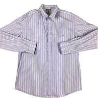 Rodd & Gunn Men's Long Sleeve Purple Striped Button Shirt Italian Fabric Size L