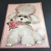 Vintage Poodle Pink Puppy Dog Print 14 X 11 Pictures Art MCM Sad Eyes