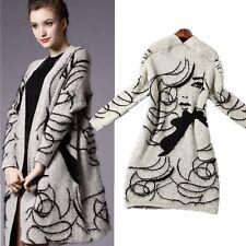 Women Cardigan Loose Sweater Long Sleeve Knitted Knitwear Outwear Jacket Coat