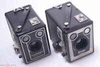 KODAK BROWNIE D & SIX-20 MODEL E 6X9CM BOX CAMERAS 120 ROLL FILM, LONDON UK MADE