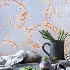 Vintage Victorian paper Wallpaper rolls wallcoverings blue beige textured floral