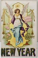 Happy New Year Beautiful Angel Embossed Gilded 1909 Postcard D6