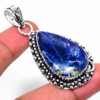 """Sodalite Gemstone Ethnic Handmade Gift Jewelry Pendant 1.97"""" JH"""