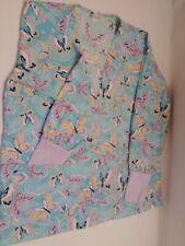 Women's size M RS Med Butterflies print scrubs jacket.