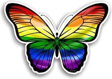 Beautiful Butterfly Design & LGBT Gay Pride Rainbow Flag Vinyl car sticker Decal