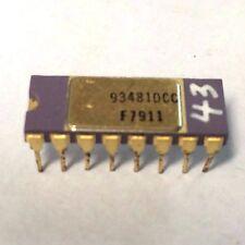 2x FAIRCHILD 93481DC | VINTAGE IC 16 PIN 4Kx1 RAM MEMORY OLD GOLD PURPLE CERAMIC