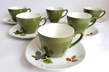 Vintage Midwinter Stylecraft 'Riverside' Tea Cups & Saucers x 6,by John Russell