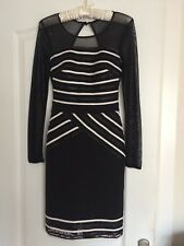 Lipsy Black And White Mesh Lace Faux Leather Bodycon Dress Size 6