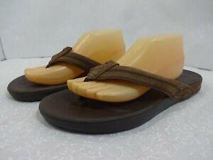 Crocs Mens Size 11 M Brown Leather Slip On Open Toe Flip Flop Flat Sandals