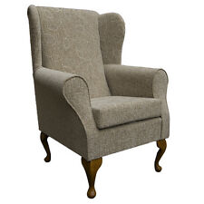Wingback Fireside Chair in a Floral Oatmeal Montana Fabric - Brand New