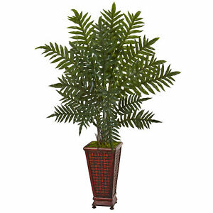 Nearly Natural 4' Evergreen Plant In Wood Planter Artificial Home Decoration