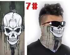 Men Green Skull Face Pattern Neck Shield Seamless Bandana Mask Wind Protector
