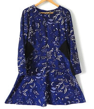 Thakoon Dress Long Sleeve Fit-Flared Multi-Color Size 12