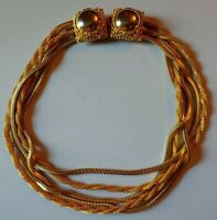 💕Vintage ELSA SCHIAPARELLI DESIGN Multi Strand GOLD Tone Chain CHOKER NECKLACE